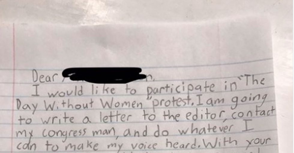 A 10-Year-Old's Poignant Letter Explains Why She'll Miss School For 'A Day Without A Woman'