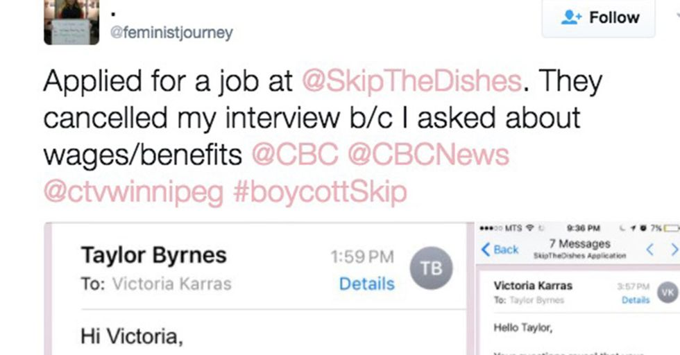 A company canceled a woman's job interview after she inquired about pay and benefits