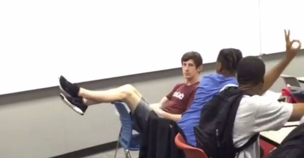 Random Act Of Sport: Students Sink A No-Look Shot Behind Their Professor's Back