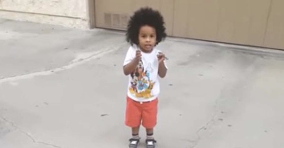 Dad's Attempt To Play Catch With His Toddler Ends In The Cutest Failure Possible