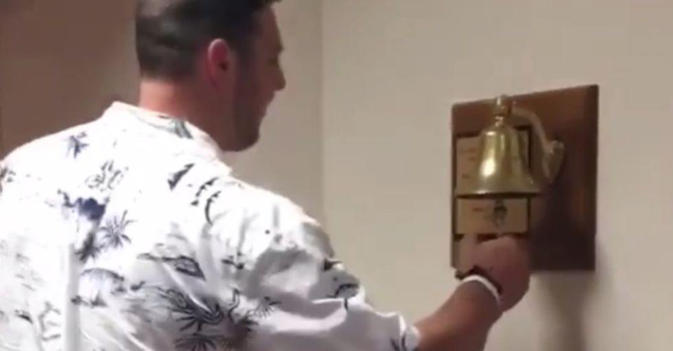 This NFL Player Celebrates The End Of His Chemo By Ringing This Bell So Hard It Breaks
