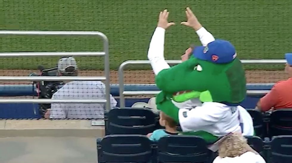 Watch This Goofy Mascot Save This Kid From A Foul Ball