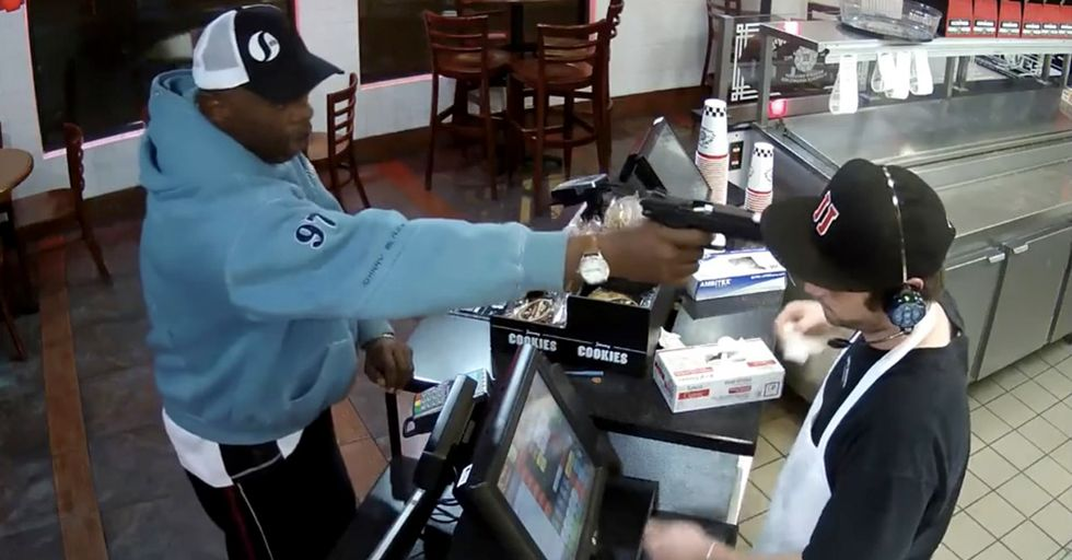 A Fast Food Worker Stayed Calm, Cool, And Collected As A Robber Pointed A Gun At His Head