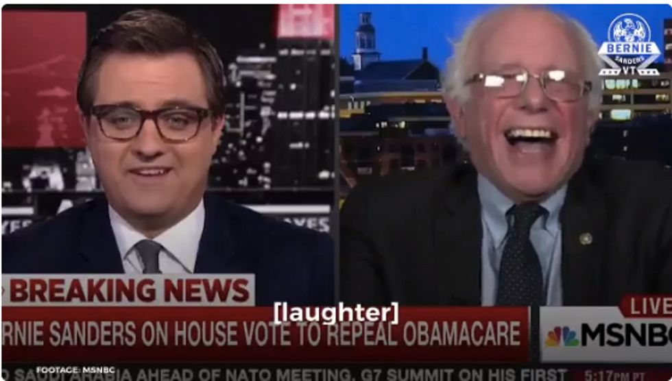 Bernie Sanders Can't Stop Laughing At Trump's Health Care Confession