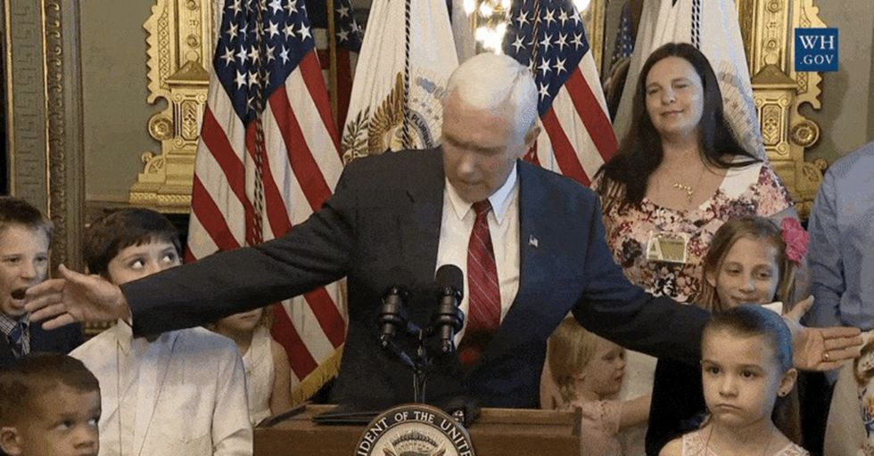 A Persistent Little Kid Demanded Mike Pence Apologize After The VP Accidentally Hit Him In The Head