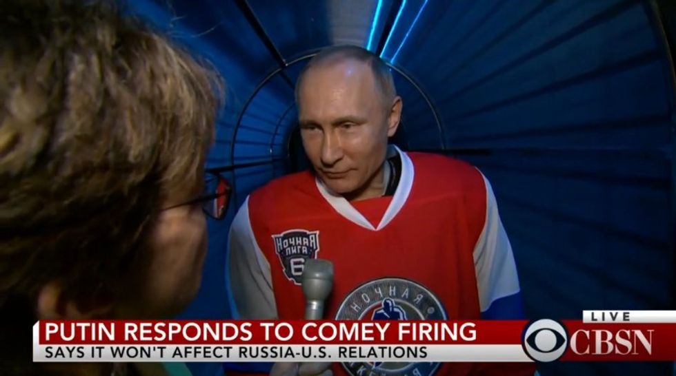 Watch Putin Play Some Awkward Hockey, Then Comment On Trump Firing Comey