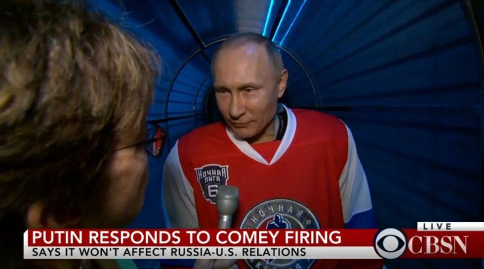 Watch Putin Play Some Awkward Hockey, Then Comment On Trump FiringComey