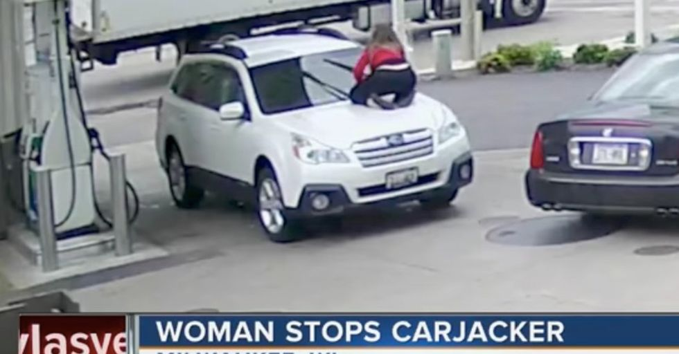 A Determined Woman Goes To Extreme Lengths To Thwart Carjacker's Efforts
