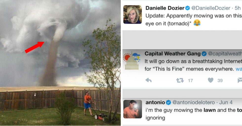 What Everyone Is Getting Wrong About Incredible Photo Of A Guy Mowing The Lawn During Tornado