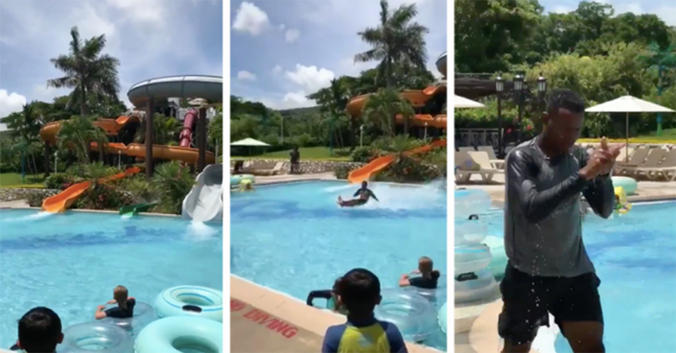 Random Act Of Sport: Let This Man's Nonchalant Waterslide Across A Pool Remind Us All That Summer is Officially Here