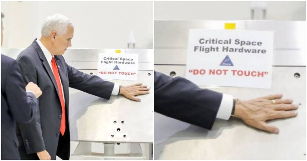 Mike Pence Ignores 'DO NOT TOUCH' Sign At The Kennedy Space Center