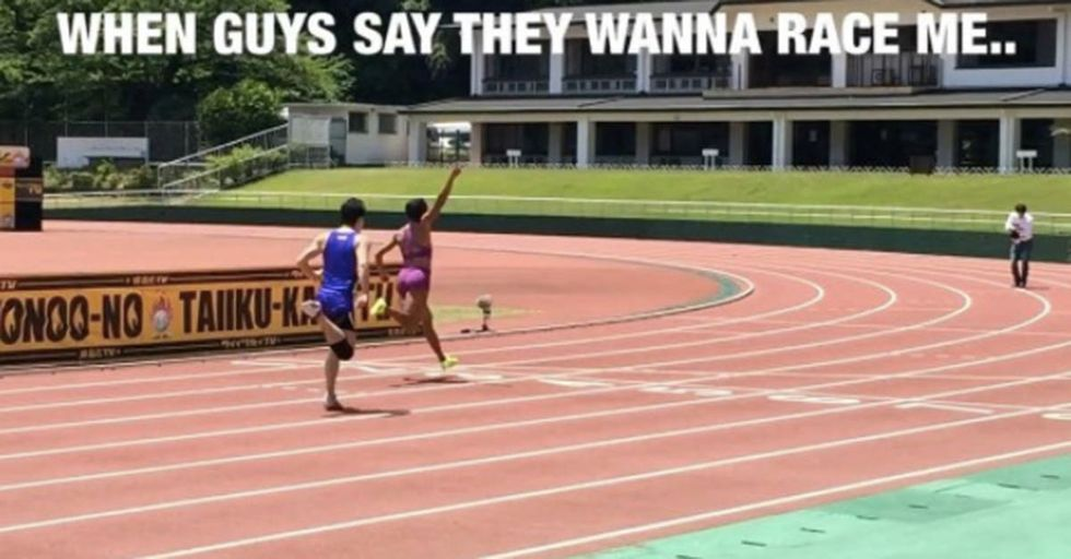 Female Track Star Crushes Man Who Challenged Her To A Race