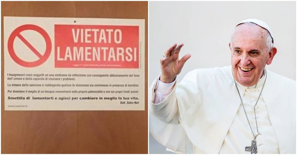 Pope Francis Hangs A 'No Whining' Sign Outside His Office