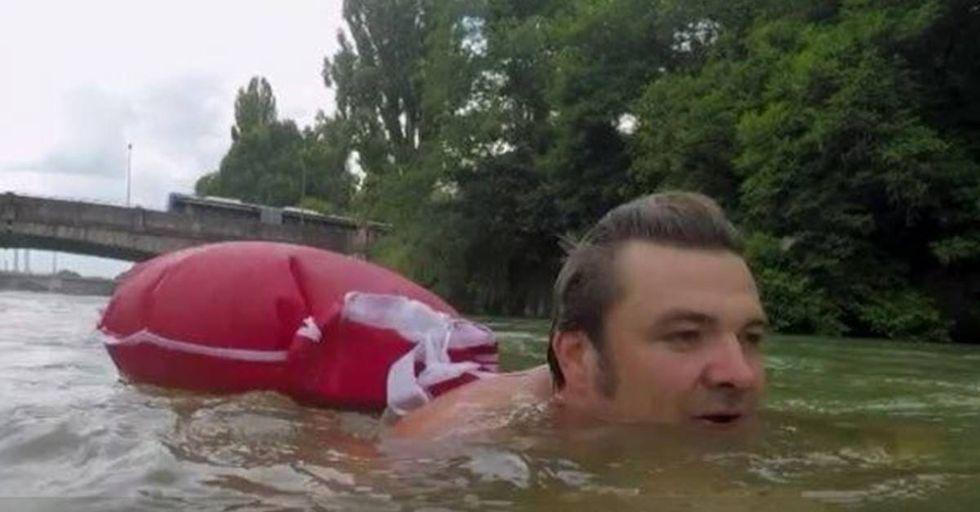 German Man Swims To Work To Beat Traffic