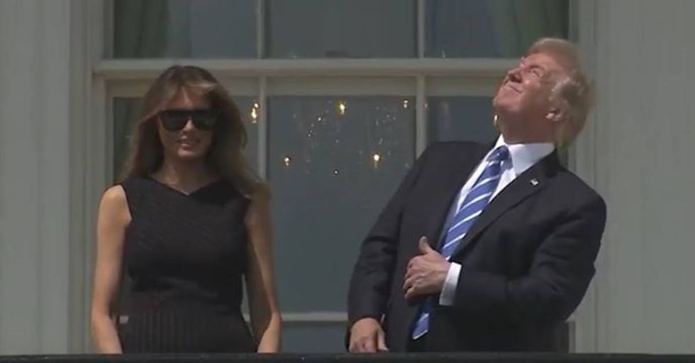 The Internet Can't Get Enough Of Trump Staring Directly At The Solar Eclipse