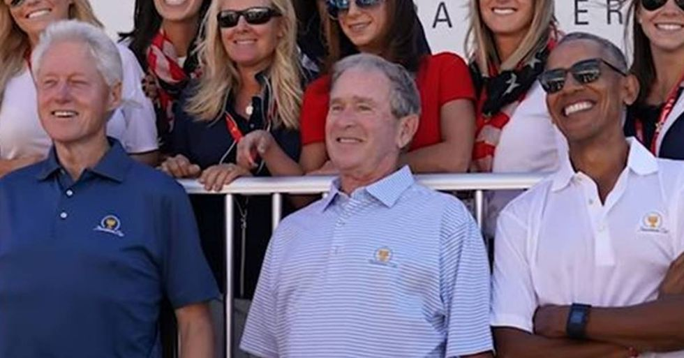 Barack Obama, Bill Clinton, And George W. Bush Attend The Presidents Cup Together