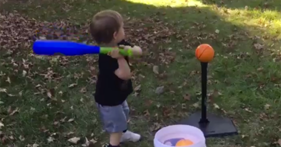 A Toddler Combines T-Ball And Basketball To Pull Off An Impressive Feat That Leaves His Dad Cheering