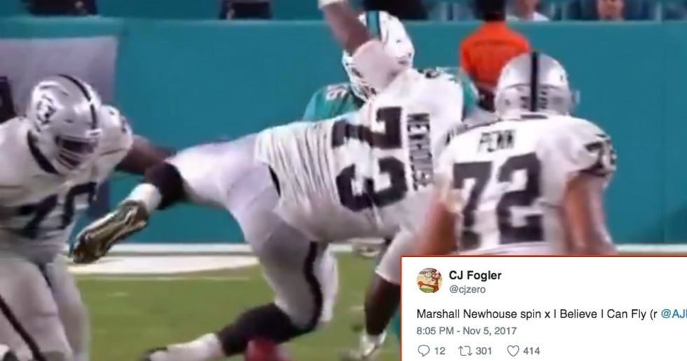 Oakland Raiders' Offensive Lineman Roasted On Twitter After His Hilarious 'Helicopter Fumble'