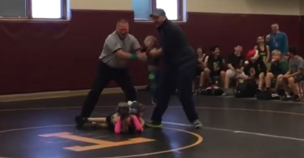 Brave Little Brother Thinks His Sister's Wrestling Match Is Real, Rushes To Her Defense