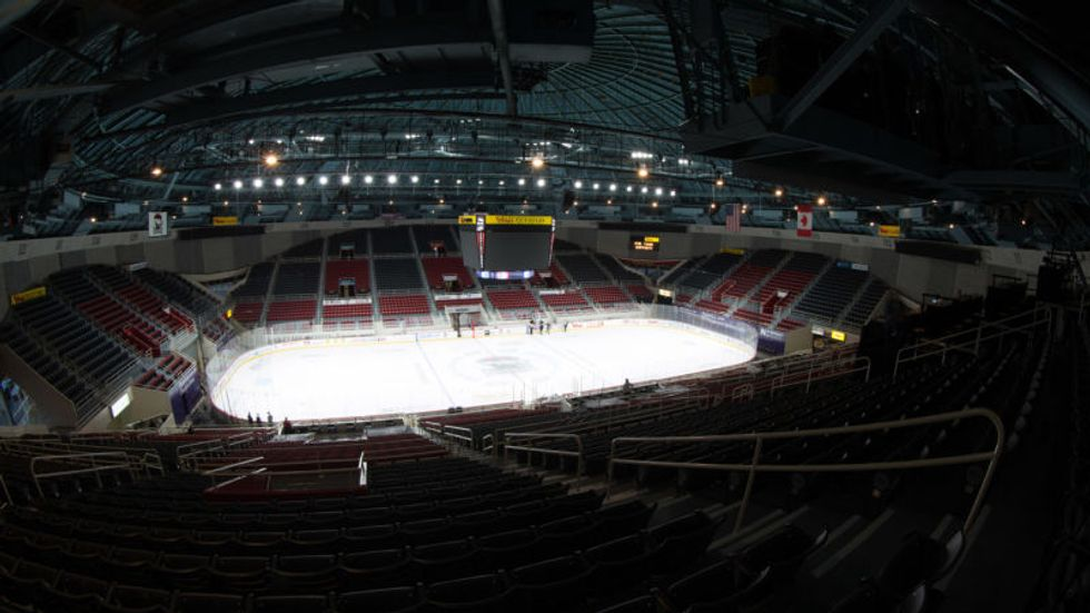 Hockey Teams Face-Off In An Empty Arena Due To Severe Weather