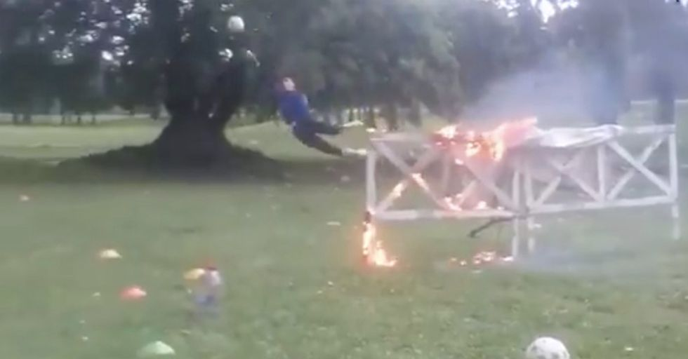 Team's 'Practice' For Soccer Goalies Involves Flaming Obstacles, Mud, And Jumping Out Of Trains
