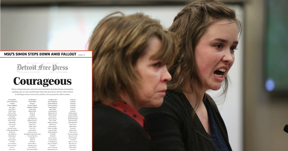 The Detroit Free Press' Front Page Honors 155 Women Who Spoke Out On Nassar's Sexual Abuse