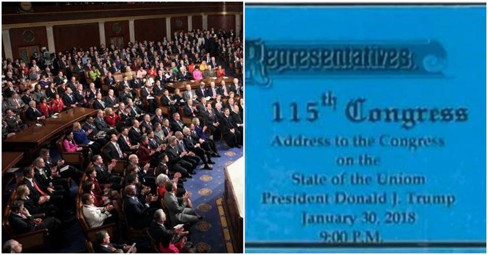 Trump's State Of The Union Ticket Has A Major Typo