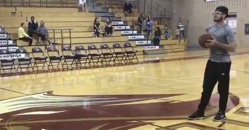 College Student Shoots An Impressive Array Of Basketball Shots To Win A Big Cash Prize