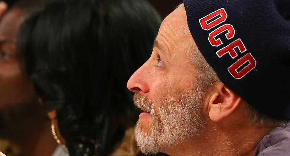 Knicks Fan Jon Stewart Appeared Tortured When This Opposing Player Sank A Shot