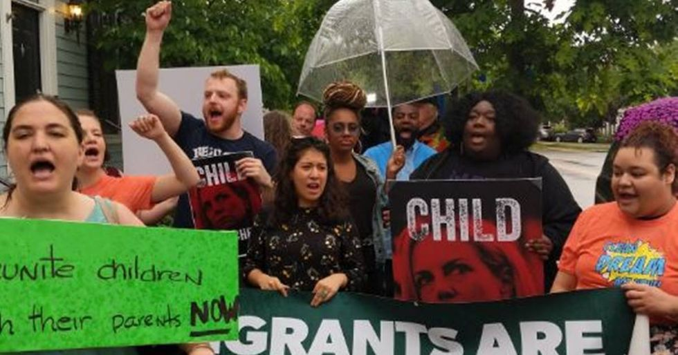 Protesters Play Audio Of Detained Migrant Children Outside Kirstjen Nielsen's House