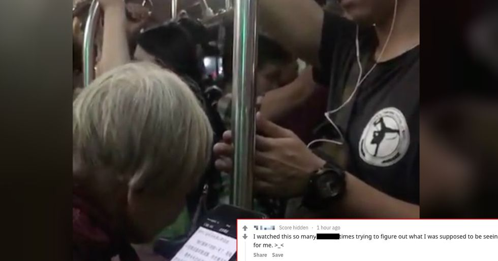 This simple act of kindness filmed on a train is going viral – can you spot what it is?