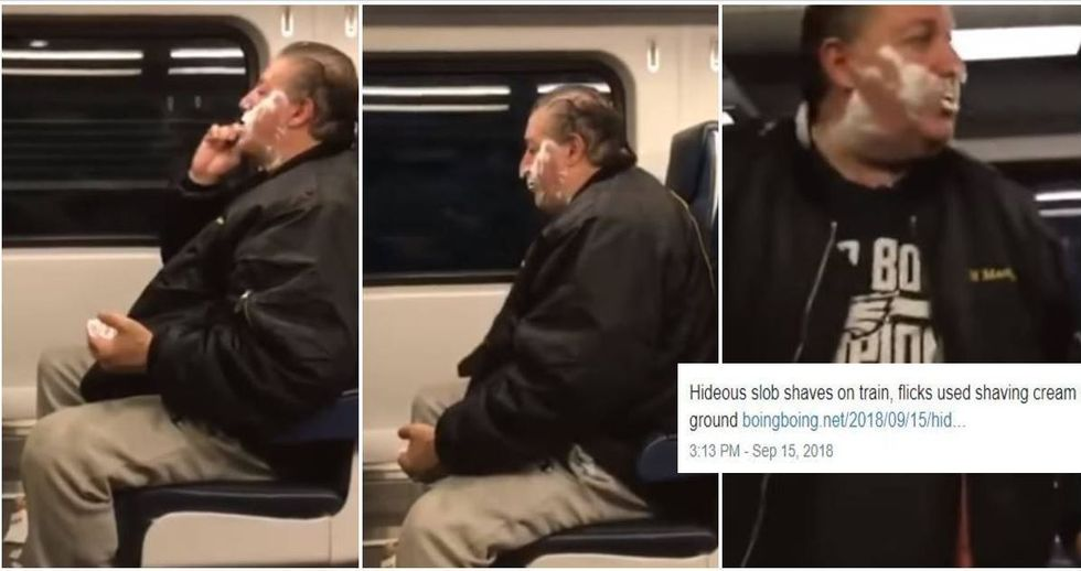 Homeless man speaks out after being mocked for shaving on a train.