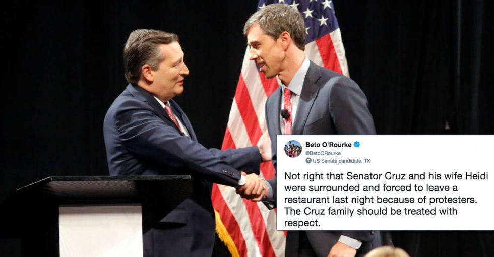 Beto O'Rourke Comes to Ted Cruz's defense after protestors harass opponent and his wife.