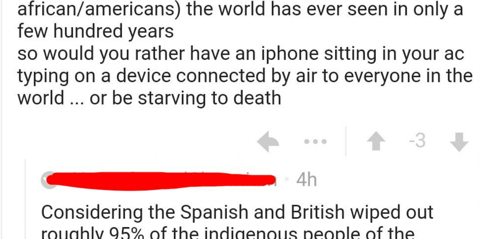 Guy gets schooled after saying Native Americans should be thankful that Europeans took over.