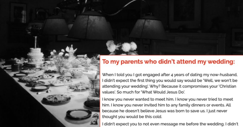 Woman pens emotional note to parents who refused to attend her wedding.