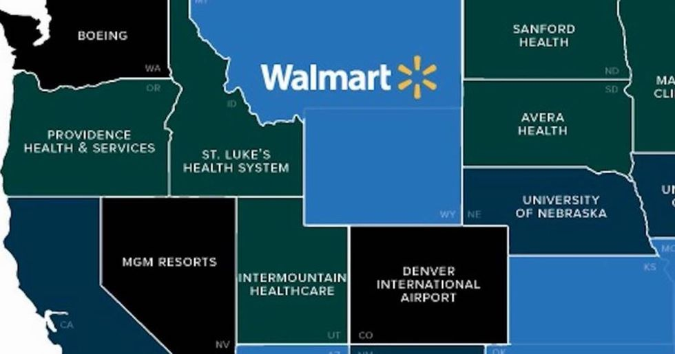 This simple map shows the biggest employers in each state.