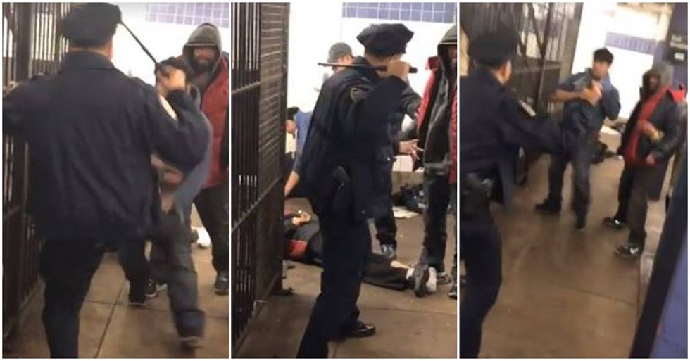 This NYPD officer is going viral after refusing to use lethal force as he fights off attackers.
