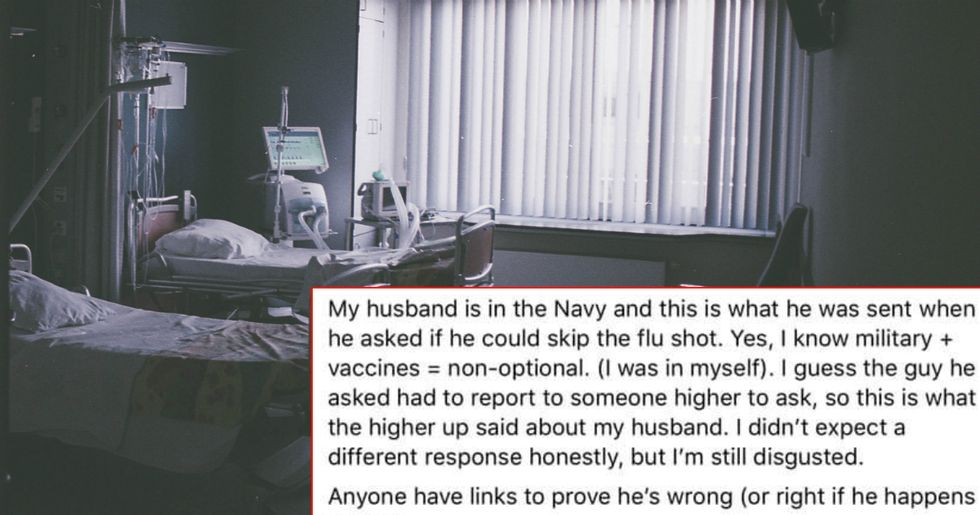 Enlisted anti-vaxxer tried to skip on a flu shot for his newborn and the Navy schooled him for it.