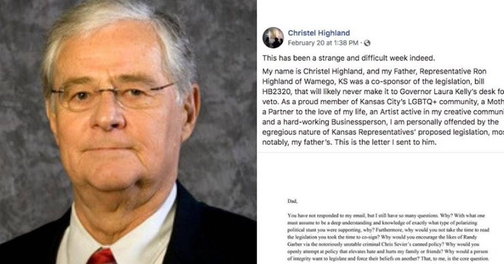 After backing an anti-gay bill, this representative was shamed by his daughter into admitting it was a 'mistake.'