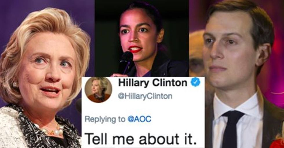 Hillary Clinton and Alexandria Ocasio-Cortez roasted Jared Kushner so hard he may delete his account.