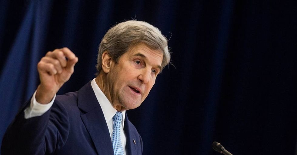 Stunned John Kerry reacts to perhaps the dumbest series of questions ever asked by a GOP representative.