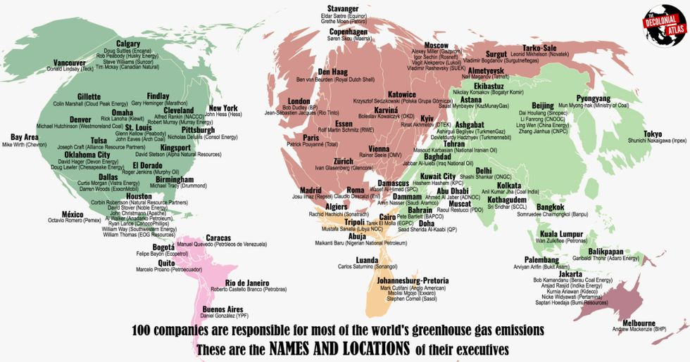 These are the names and locations of the Top 100 people who are killing the planet.