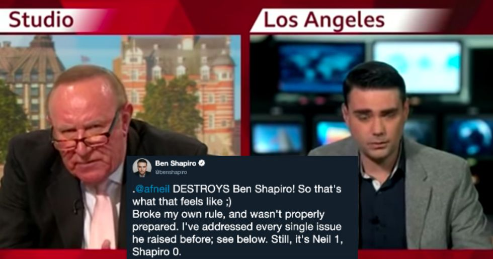 Ben Shapiro storms off set after being crushed by a fellow conservative.