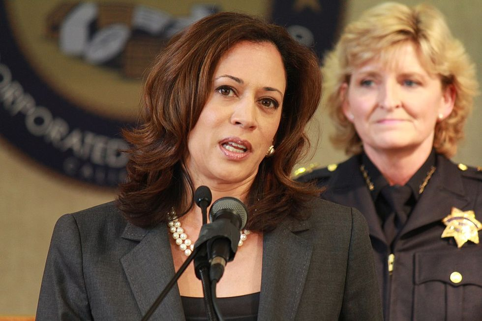 Kamala Harris says her Department of Justice would have 'no choice' but to prosecute Trump.