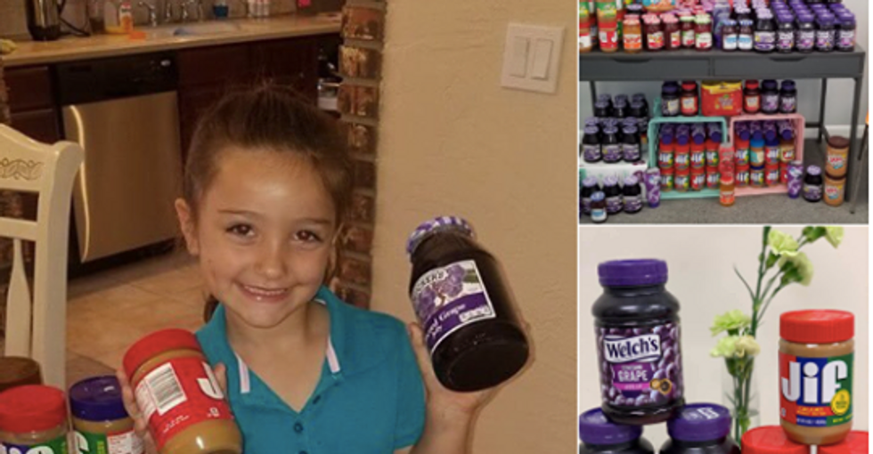 A Florida 1st grader is collecting PB&J jars to make sure her classmates have enough to eat.