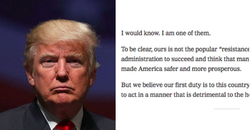 This anonymous 'resistance' letter from a senior Trump official is a must read.