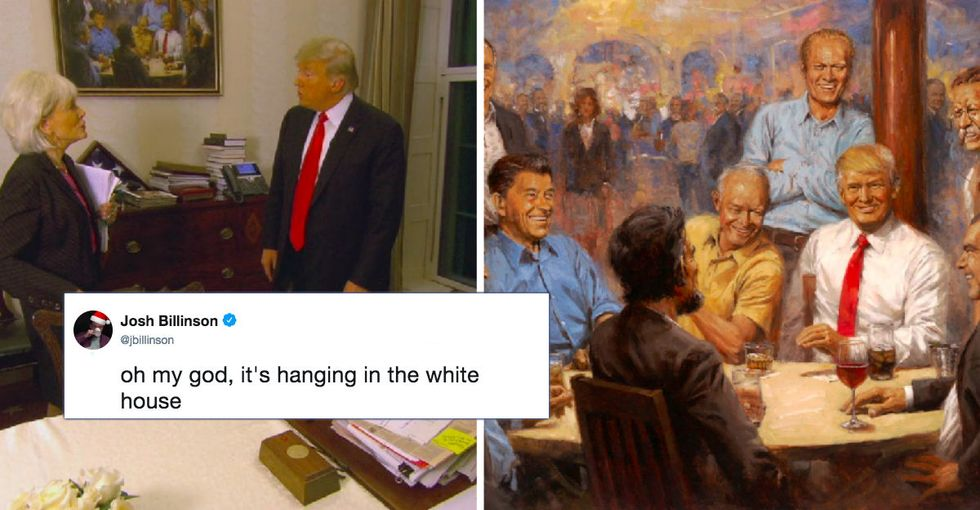 The Internet is buzzing with conspiracy theories over this painting hanging in Trump's office.