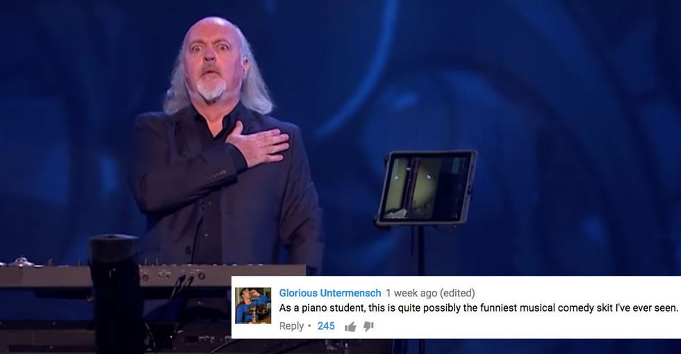 Comedic genius Bill Bailey shows how the U.S. national anthem played in a minor key makes it sound Russian.
