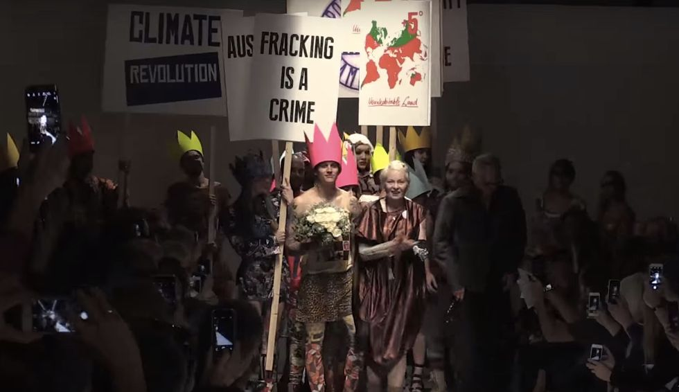Vivienne Westwood Staged an Anti-Fracking, Anti-Austerity Protest at Her Own Fashion Show