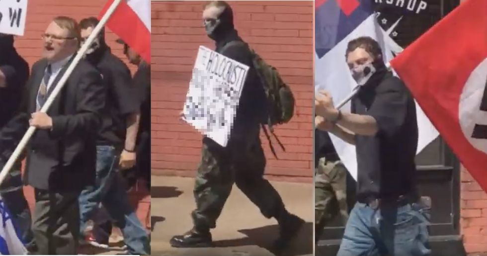 Actual Nazis, carrying actual nazi flags, interrupt Holocaust Memorial Event – and no one is talking about it.